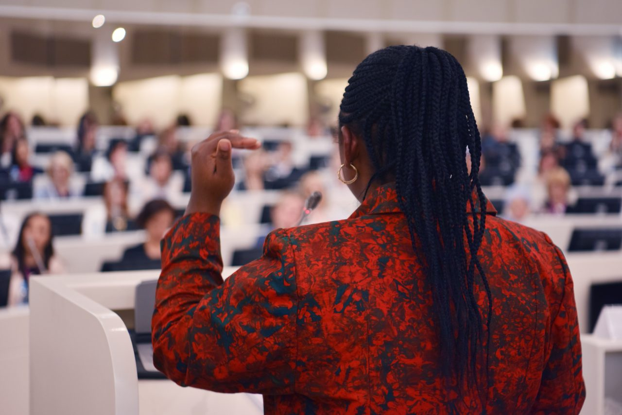 Leader African business woman representing model of economic development and startup business, Audience at the conference hall, Business Conference and Presentation